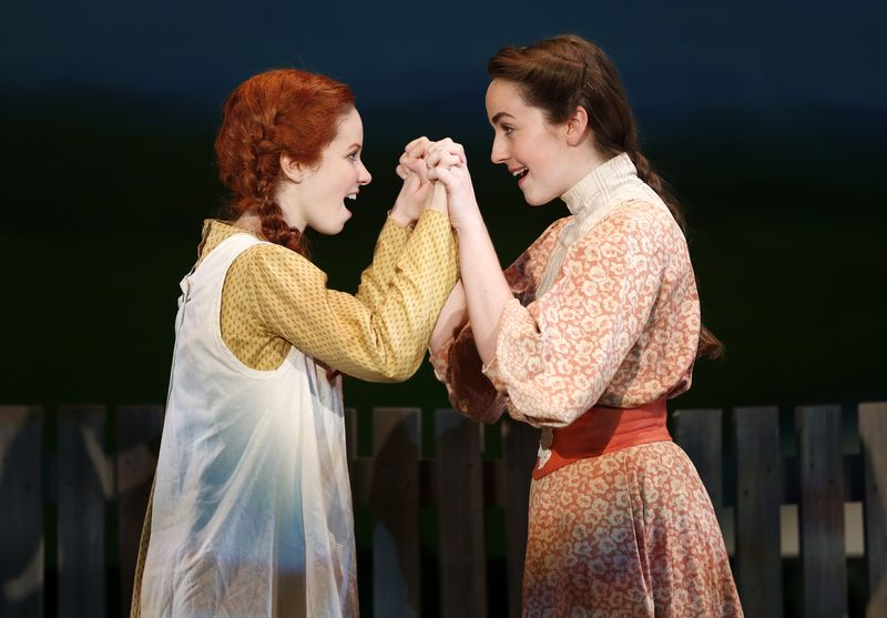 ALISON WOODS as Anne Shirley and WHITNEY WINFIELD as Diana Barry in BEND IN THE ROAD at NYMF Photo by Carol Rosegg
